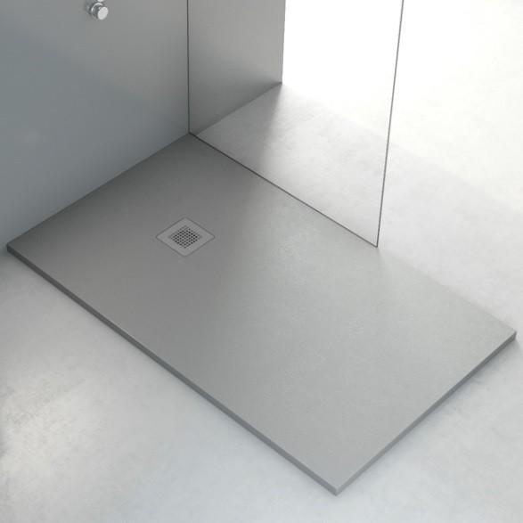 Plato de ducha de carga mineral textura liso for Instalar plato ducha resina