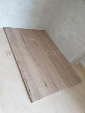 Plato de ducha de resina y carga mineral WOOD