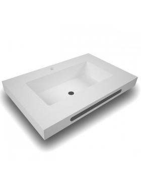 Encimera de baño solid surface seno formas centrado con faldón