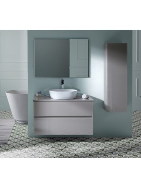 Mueble de baño glass line con tapa taupe