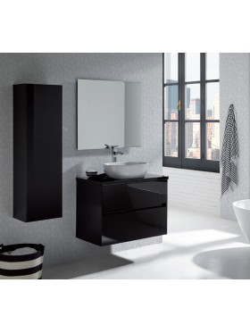 Mueble de baño glass line con tapa negro