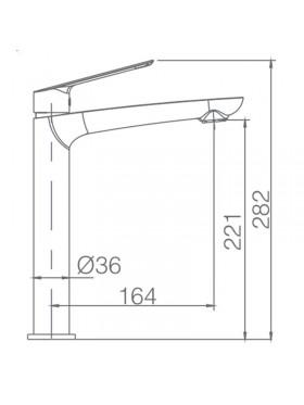 Ficha técnina de grifo de lavabo caño alto Luxor Negro Imex