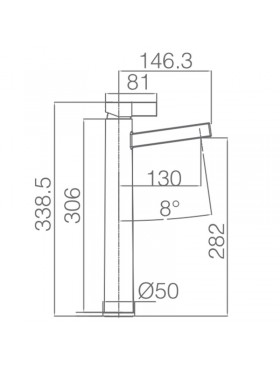 Ficha técnica de grifo de lavabo de caño alto Elba Negro Imex