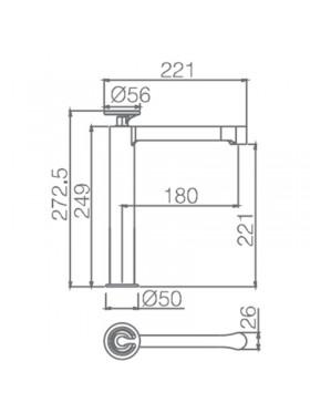 Ficha técnica grifo de lavabo caño alto Olimpo Imex