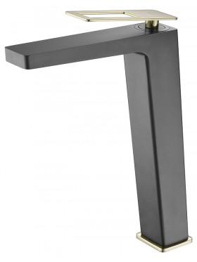 Grifo de lavabo caño alto Negro Oro Suecia Imex