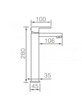 Ficha técnica grifo de lavabo caño alto Nantes Imex