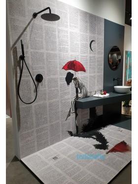 ambiente de baño de plato de ducha con impresión digital