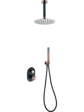 Conjunto de ducha Negro Oro Rosa Vesubio Imex