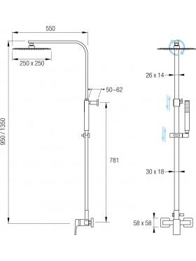 Ficha técnica del conjunto de ducha Seul