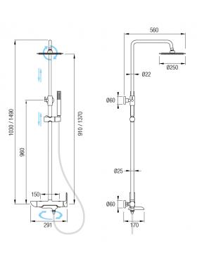 Ficha técnica conjunto de ducha Tebas