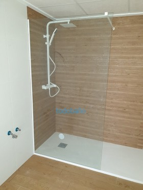 Mampara de ducha 1 hoja fija perfil blanco
