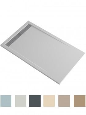 Plato de ducha de resina y carga mineral con marco decreciente