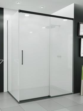 Mampara de ducha angular perfil negro Cadi