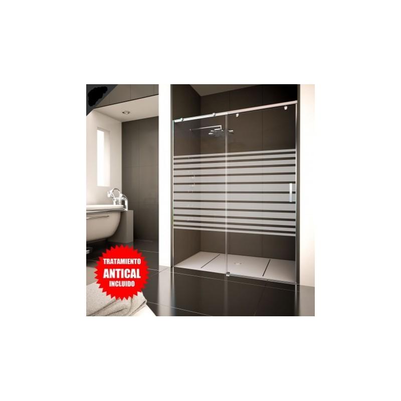 Mampara frontal de ducha 1 hoja fija puerta corredera for Oferta mampara ducha