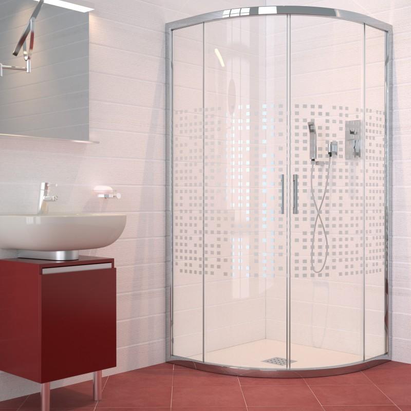 Mampara de ducha semicircular con dos hojas correderas y - Mamparas de ducha fijas ...