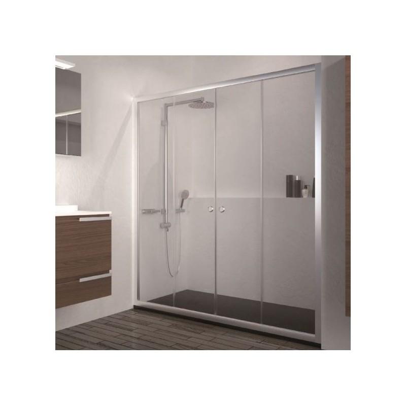 Mampara de ducha frontal con dos hojas correderas y dos - Mamparas de ducha fijas ...