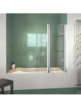 Mampara de bañera frontal con una hoja autorretornable y una fija