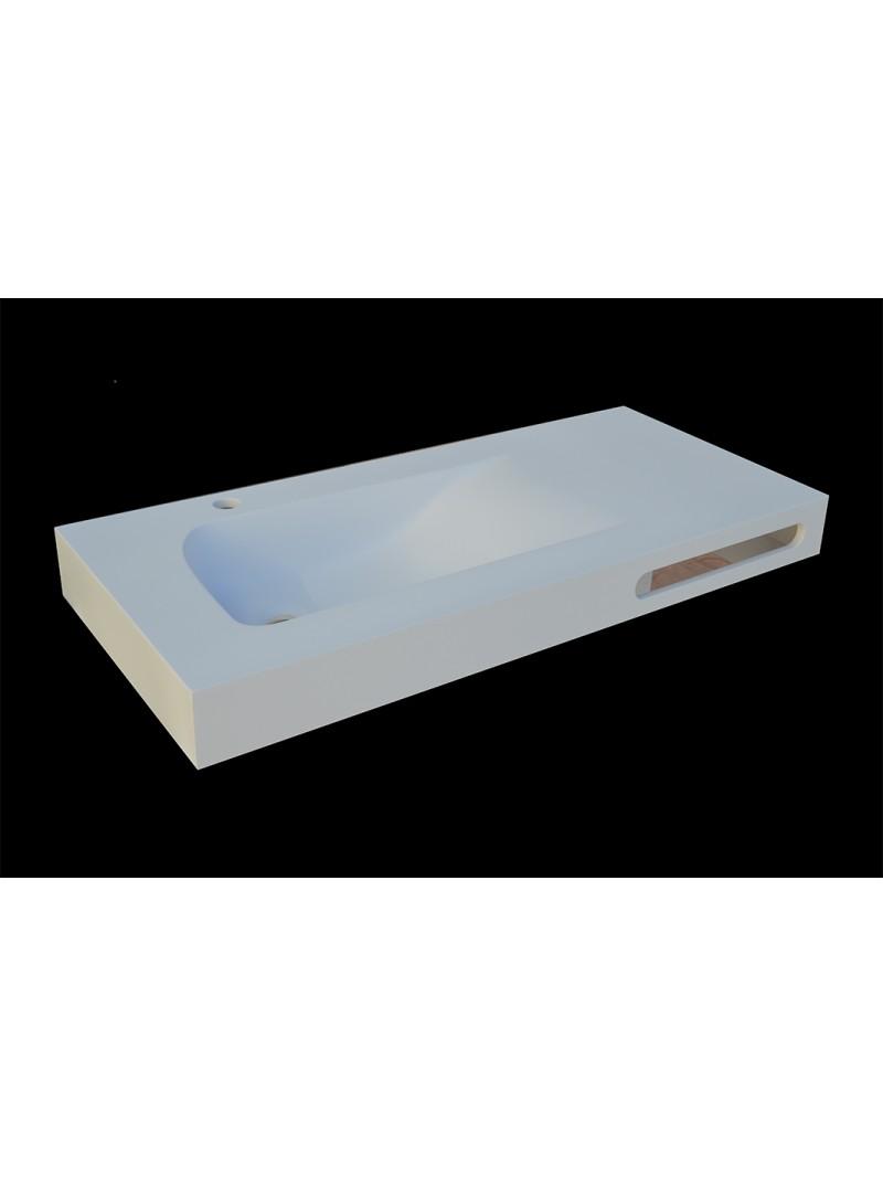 Encimera de ba o solid surface con faldon for Encimera de concreto encerado bano