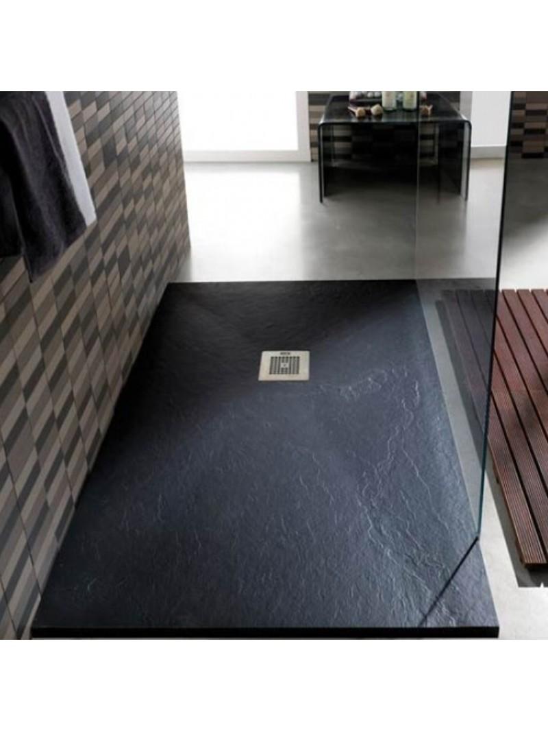 Plato de ducha de resina y carga mineral textura pizarra a - Platos de ducha grandes ...