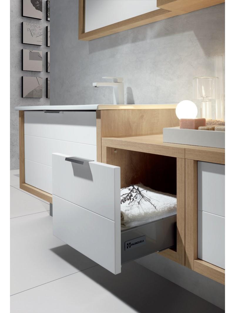 Mueble de ba o tino con tapa de madera acabado blanco - Mueble de bano online ...