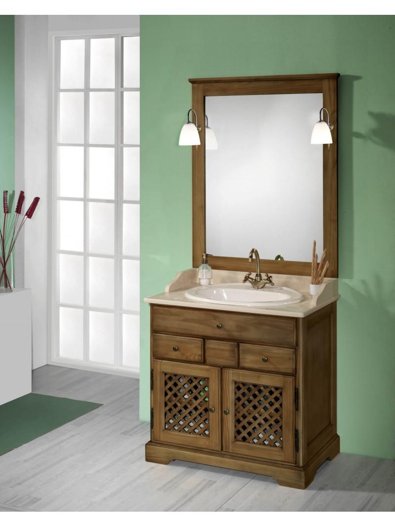 Mueble de ba o rustico 80cm for Outlet de muebles online