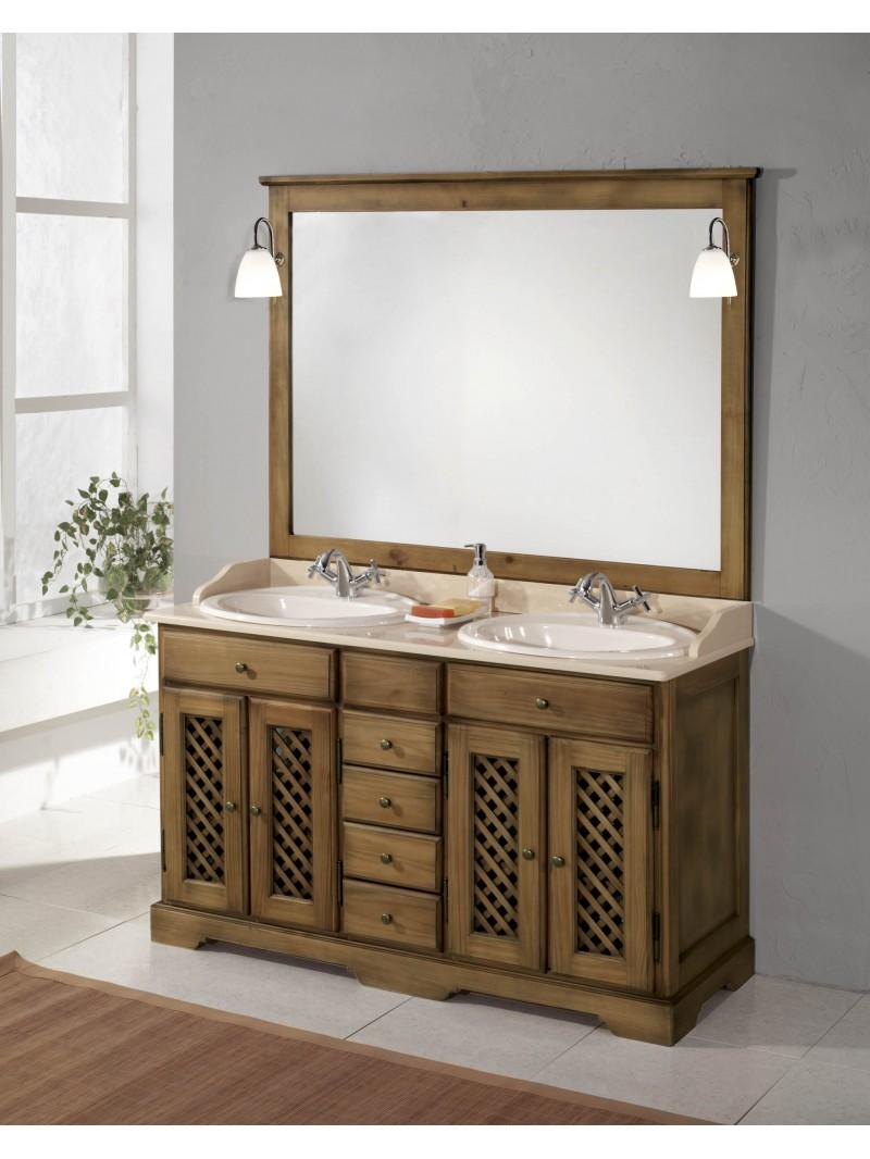 Mueble de ba o rustico 140cm for Mueble bano rustico blanco