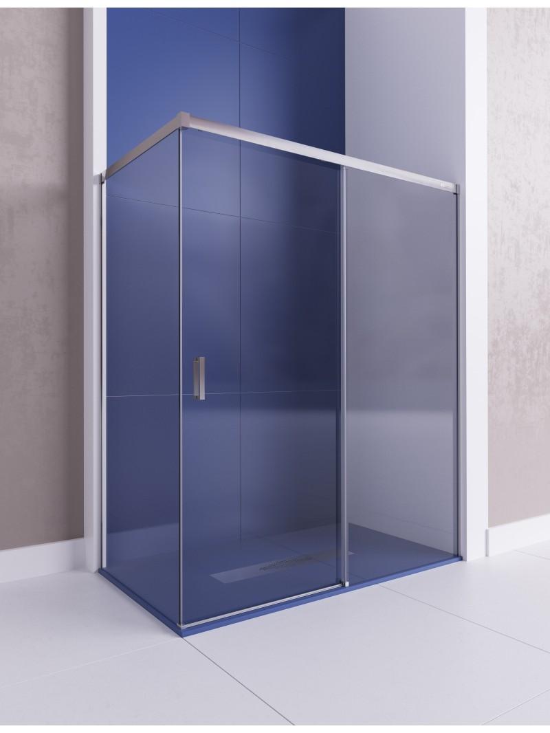 Mampara angular de ducha de dos fijos y una puerta for Mamparas ducha a medida