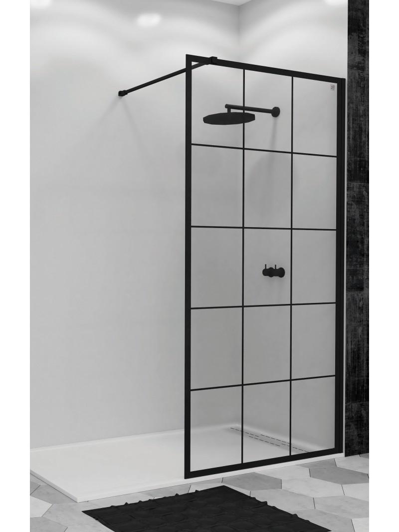 Mampara de ducha perfil negro cristal fijo for Perfil vierteaguas mampara