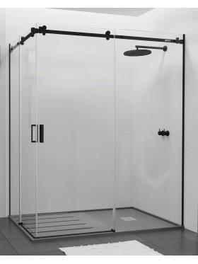 Mampara de ducha angular perfil negro A4