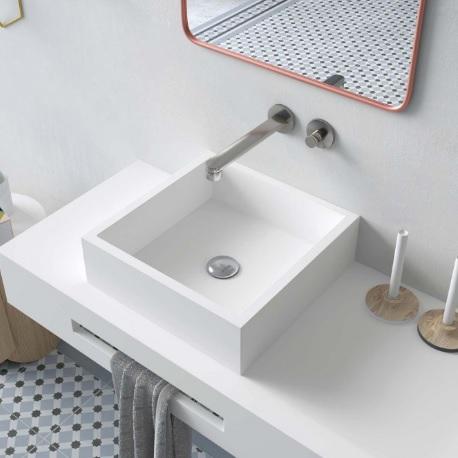 lavabo sobre encimera solid surface cuadrado
